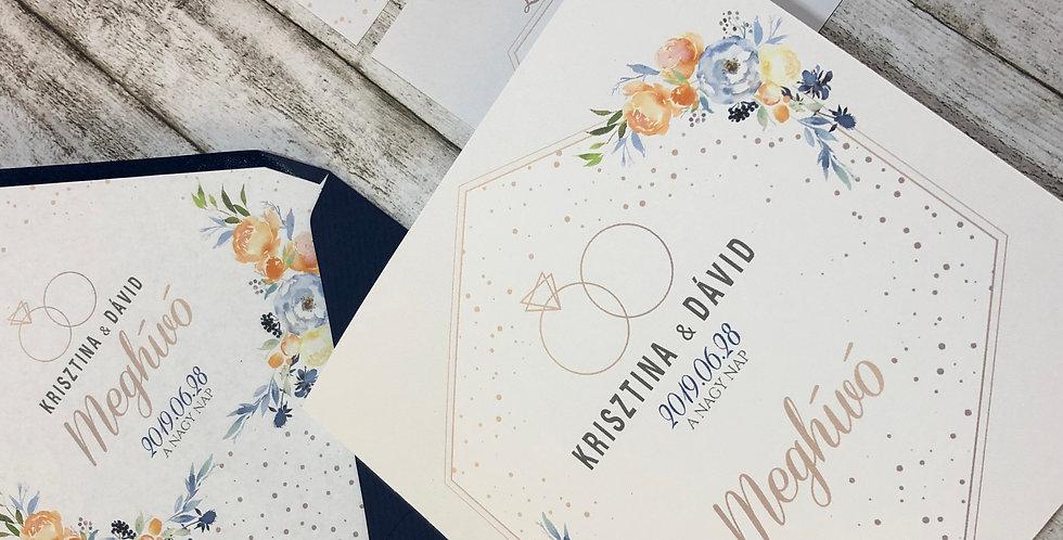 Esküvői meghívó - Elegáns kék