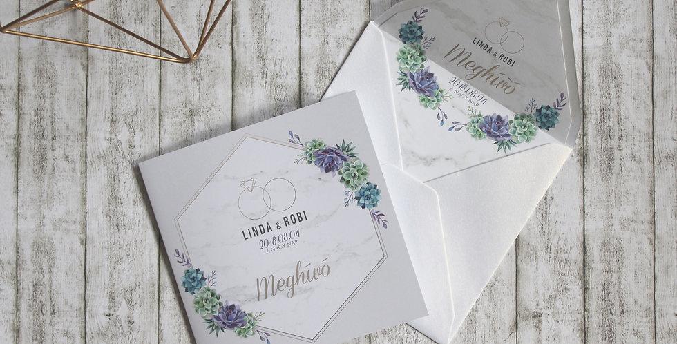 Esküvői meghívó - Kövirózsa