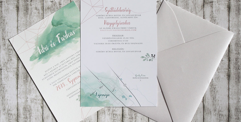 Esküvői meghívó - Geometria és akvarell