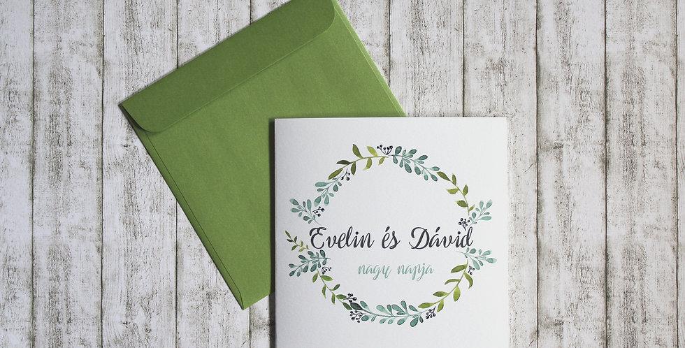 Esküvői meghívó - Zöld akvarell
