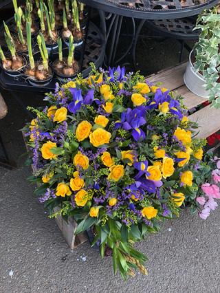 Yellow rose and Iris Posy