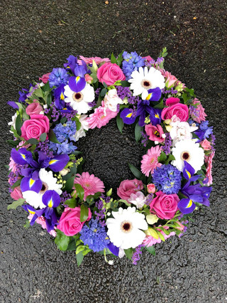 Pink, white and purple wreath