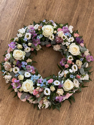 Lilac, blue and white wreath