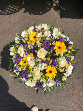 Yellow, white and purple posy