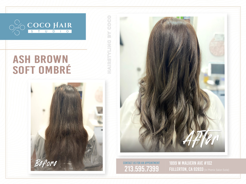 Before & After   Ash Brown Soft Ombré