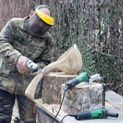обдирка  дерева рашпильной фрезой