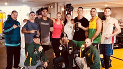 Justis with the Australian Commonwealth team