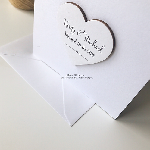 Wedding Card with Wooden Photo Heart