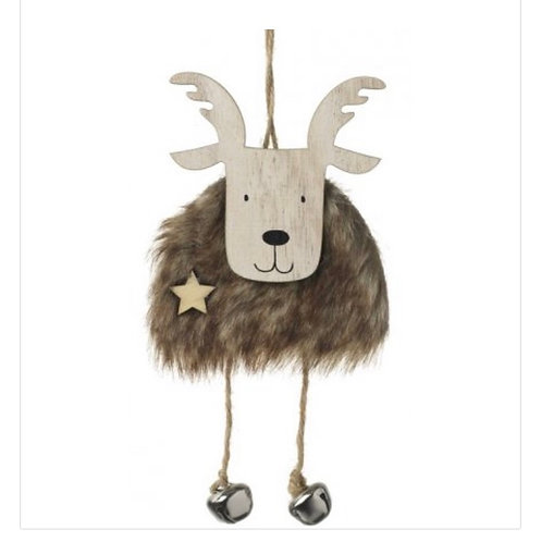 Faux Fur Moose with Bells