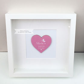 Personalised Framed Wooden Heart Fairies Pink
