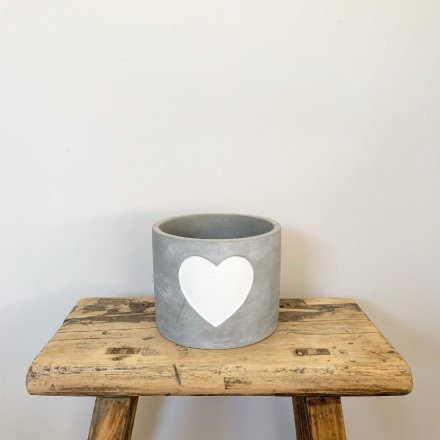 Cement Pot with White Heart 11cm