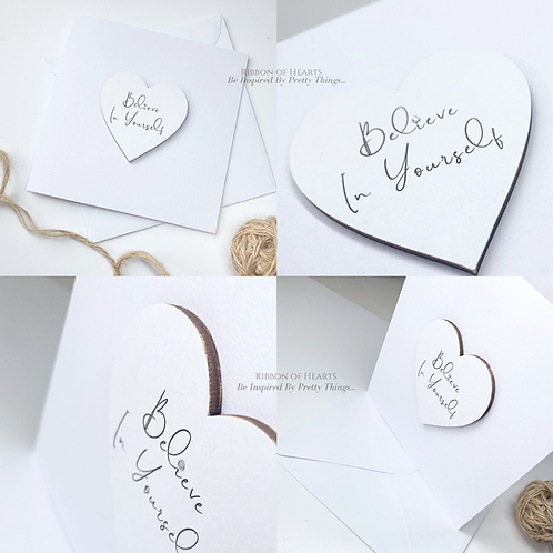 Believe In Yourself - Star/Heart Cards with Magnet with Diamante Detail