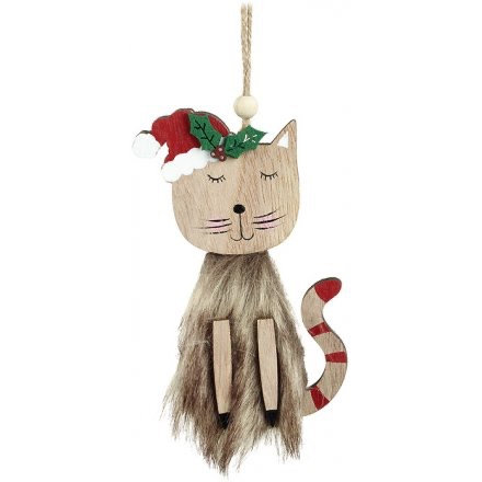 Hanging Wooden Christmas Cat