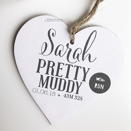 Pretty Muddy Runners Personalised Hearts, medals, running gifts