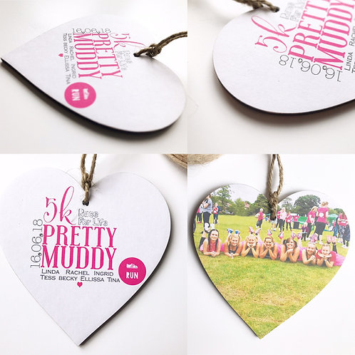 Pretty Muddy Pink Runners Personalised Hearts, medals, running gifts,diamante