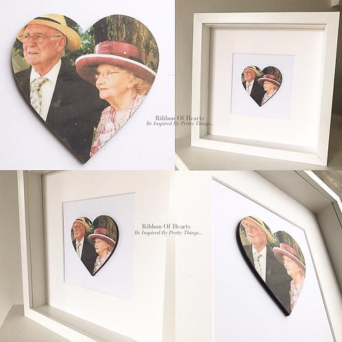 Framed Wooden Grandparents Photo Hearts 25 x 25 cm