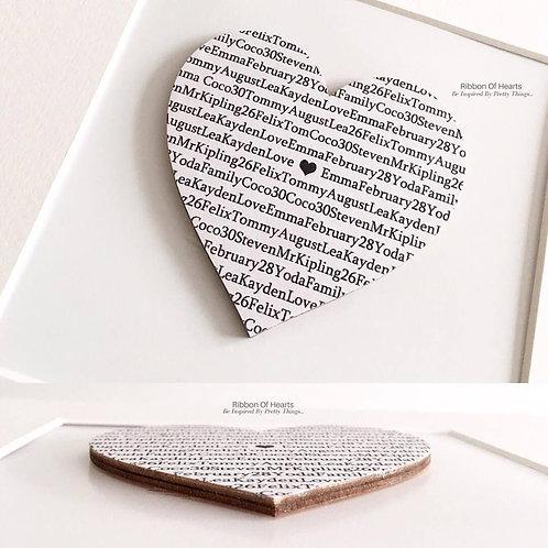 """Framed """"Our Family"""" Wooden Heart"""