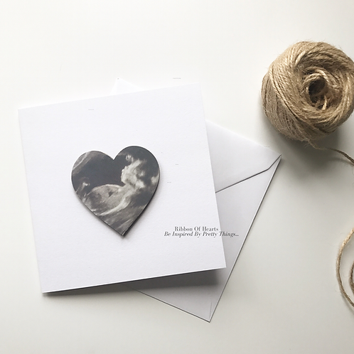 Baby Scan Card with Wooden Photo Heart and Magnet