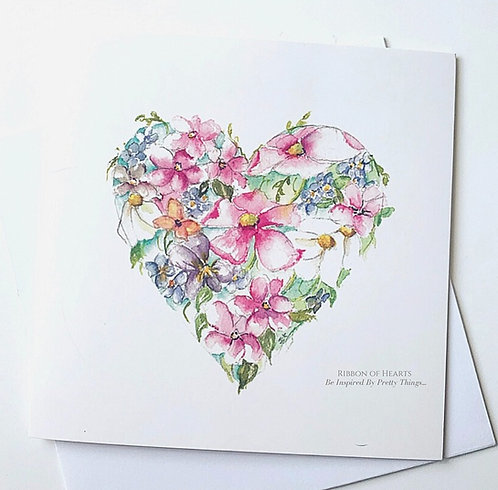 Watercolour Heart with Flowers Card