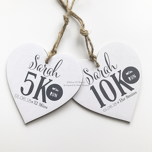 5k & 10k Runners Personalised Hearts, medals, running gifts with diamante detail