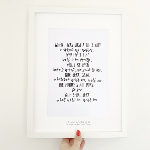 'Que Sera Sera' A4 Print with Diamante Detail