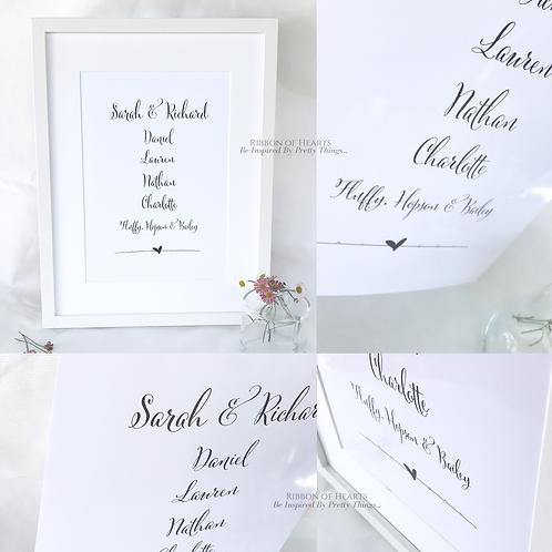 Family Names - A4 Print with Diamantes
