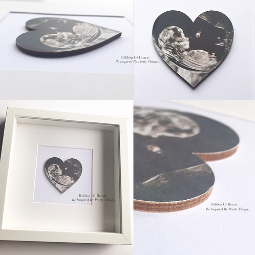 Framed Wooden Baby Scan Hearts