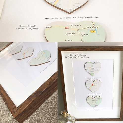Personalised Map Hearts Framed