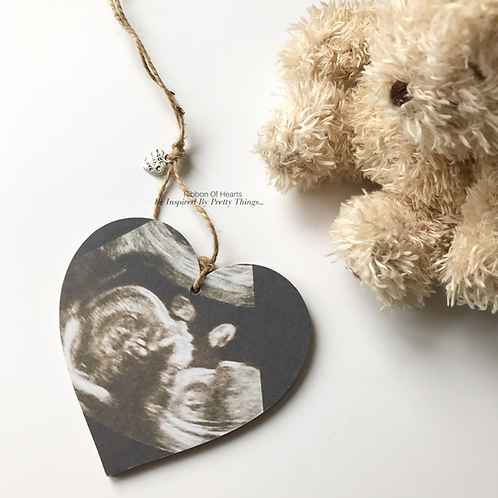 Baby Scan Photo Hearts and Magnets