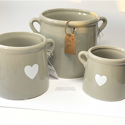 Set of 3 Grey Pots