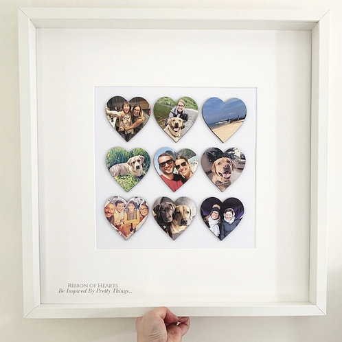 Large Framed Wooden Photo Hearts (50x50 cm Handcrafted frame with glass front))