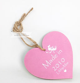 Personalised Wooden Heart Fairies Pink