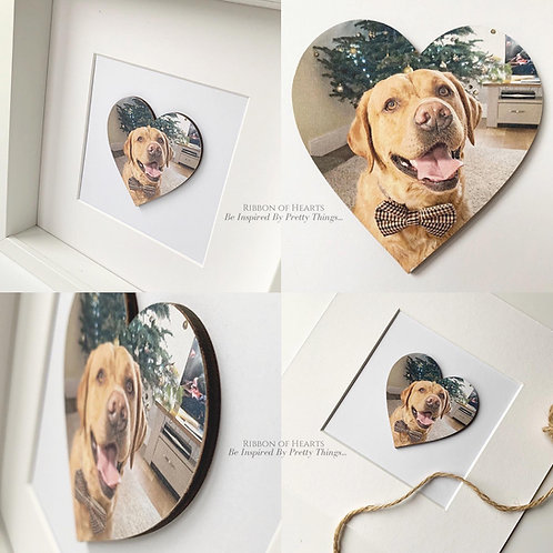 Framed Wooden PET Photo Hearts 25 x 25 cm