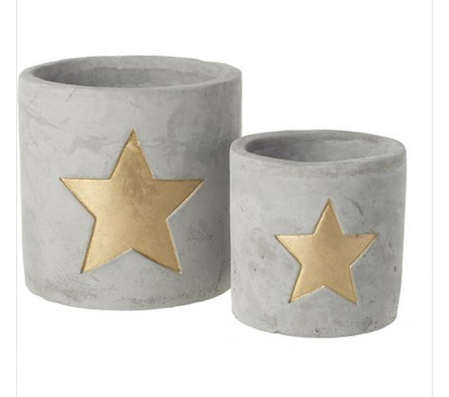 Set of 2 Cement T-Light Holders with Gold Star