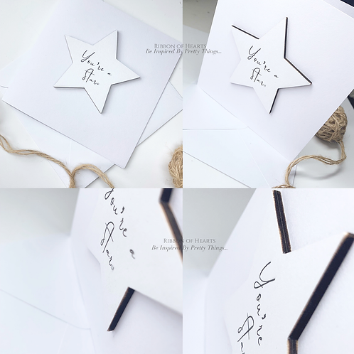 You're A Star - Star/Heart Cards with Magnet with Diamante Detail