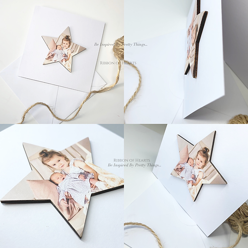 Card with Wooden Photo Star & Magnet
