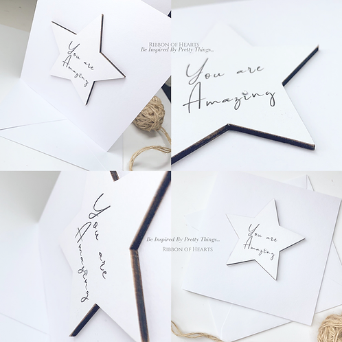 You Are Amazing - Star/Heart Cards with Magnet with Diamante Detail