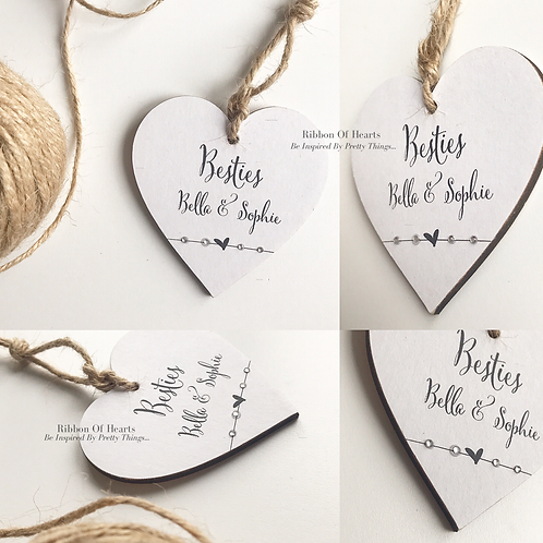 Besties - Personalised Wooden Hearts with Diamantes/Magnets