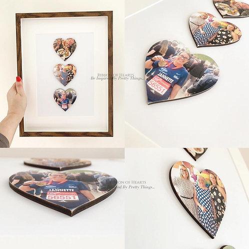 Framed Wooden Photo Hearts - Choice of 3/4/6 Hearts