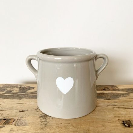 Grey Pot with White Heart 8cm