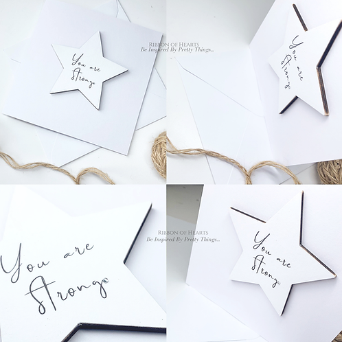 You Are Strong - Star/Heart Cards with Magnet with Diamante Detail