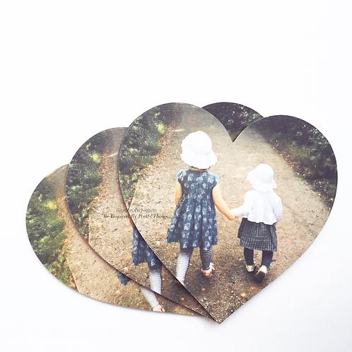 Wooden Heart Photo Fridge/Office/Memo Board Magnets