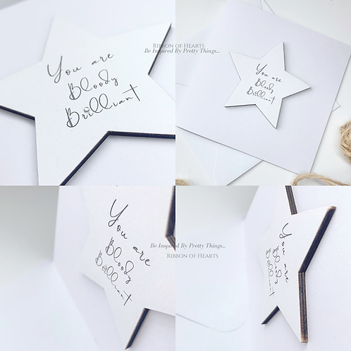 You Are Bloody Brilliant - Star/Heart Cards with Magnet with Diamante Detail