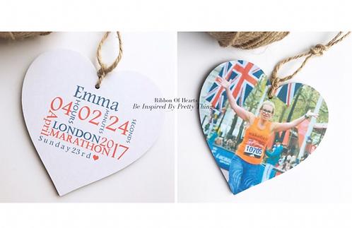 London Marathon Photo & Personalised Wooden Hearts