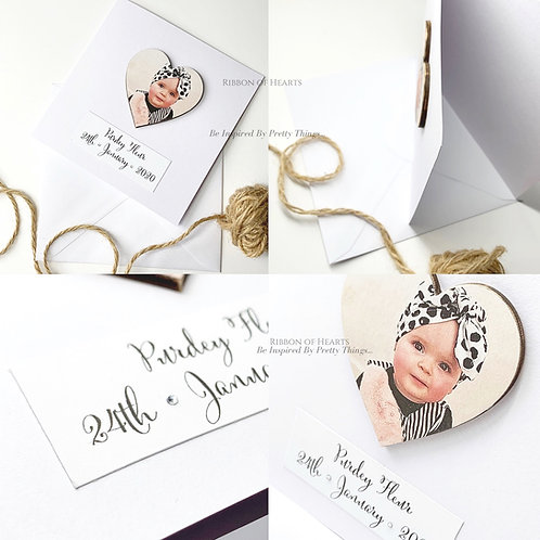Card with Wooden Photo Heart & Magnet