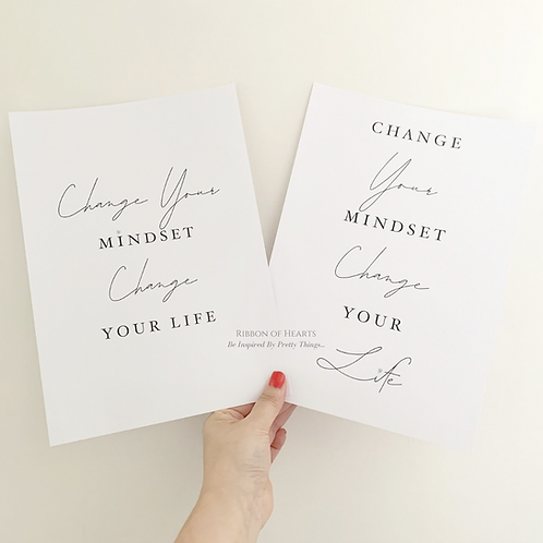 Change Your Mindset Change Your Life A4 Print with Diamantes