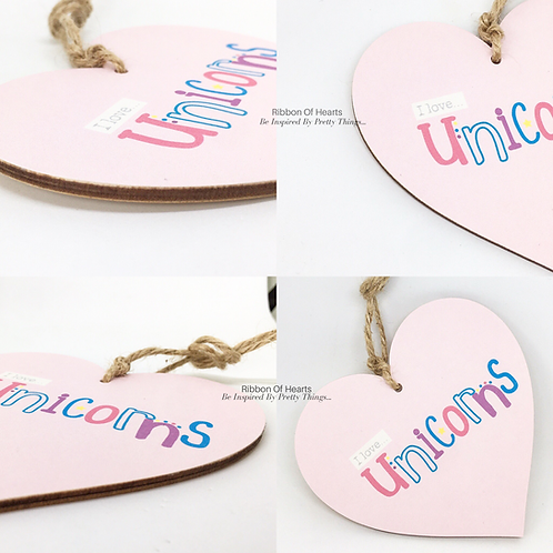 'I love' Unicorns Wooden Hearts and Magnets