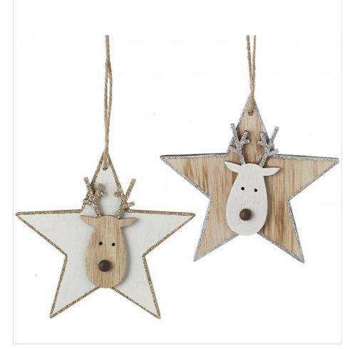 Hanging Wooden Reindeer Stars 11cm