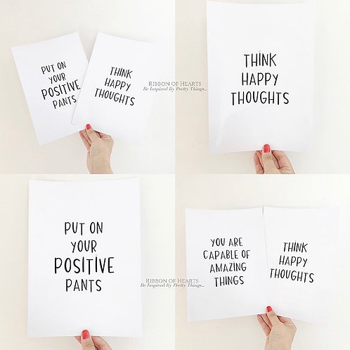 Put On Your Positive Pants A4 Print with Diamantes
