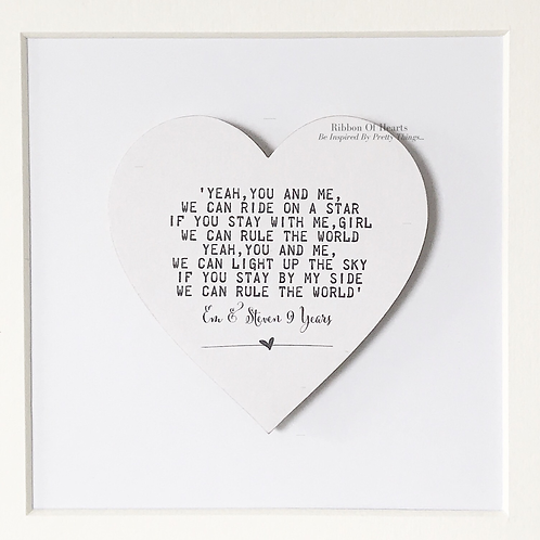 Framed Song Lyric Wooden Hearts